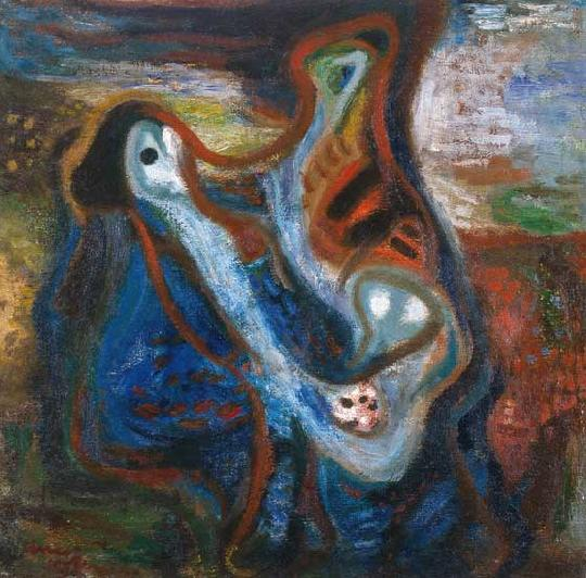 """The Good and the Evil,"" oil on canvas, by Imre Ámos, 1938. Licensed under Creative Commons."