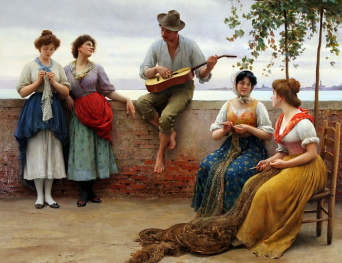 """The Serenade,"" oil on canvas, by Eugene de Blaas, 1910."