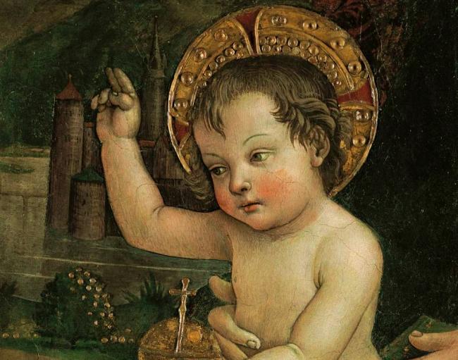 """Baby Jesus of the Hands,"" fresco, by Bernardino di Betto, AKA ""Pinturicchio,"" 1492."